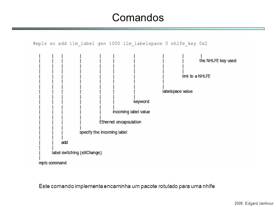 2008, Edgard Jamhour Comandos Este comando implementa encaminha um pacote rotulado para uma nhlfe