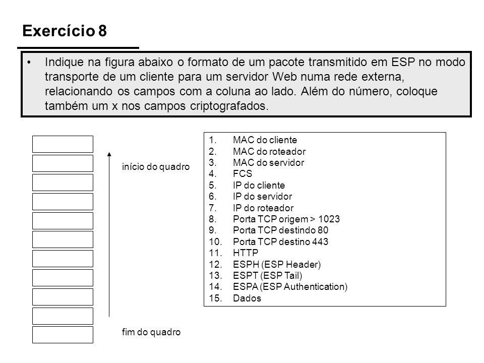 Exercício 8 Indique na figura abaixo o formato de um pacote transmitido em ESP no modo transporte de um cliente para um servidor Web numa rede externa, relacionando os campos com a coluna ao lado.