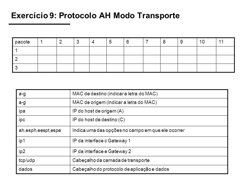 Exercício 9: Protocolo AH Modo Transporte pacote1234567891011 1 2 3 a-gMAC de destino (indicar a letra do MAC) a-gMAC de origem (indicar a letra do MAC) ipaIP do host de origem (A) ipcIP do host de destino (C) ah,esph,eespt,espaIndica uma das opções no campo em que ele ocorrer ip1IP da interface c Gateway 1 ip2IP da interface e Gateway 2 tcp/udpCabeçalho da camada de transporte dadosCabeçalho do protocolo de aplicação e dados