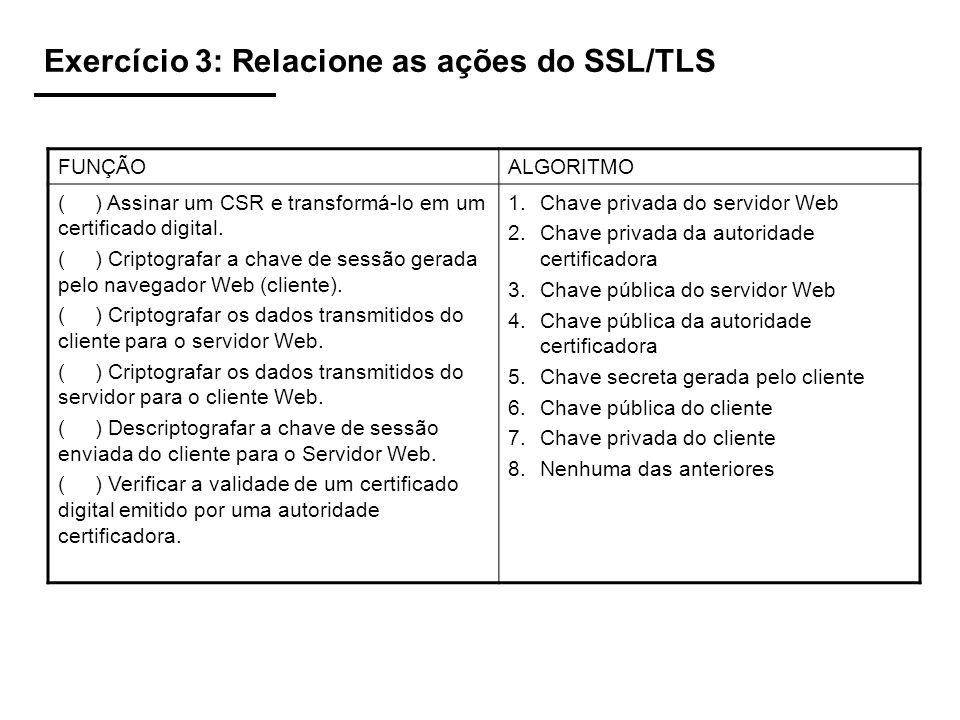 Exercício 3: Relacione as ações do SSL/TLS FUNÇÃOALGORITMO ( ) Assinar um CSR e transformá-lo em um certificado digital. ( ) Criptografar a chave de s