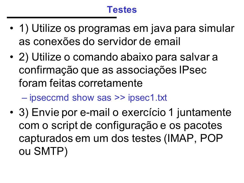 Testes 1) Utilize os programas em java para simular as conexões do servidor de email 2) Utilize o comando abaixo para salvar a confirmação que as associações IPsec foram feitas corretamente –ipseccmd show sas >> ipsec1.txt 3) Envie por e-mail o exercício 1 juntamente com o script de configuração e os pacotes capturados em um dos testes (IMAP, POP ou SMTP)