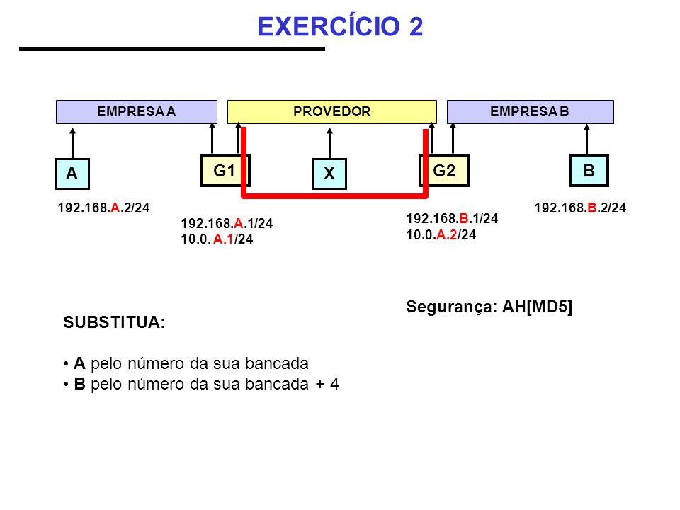 EXERCÍCIO 2 AX B EMPRESA A 192.168.A.2/24 PROVEDOR G1 G2 192.168.A.1/24 10.0. A.1/24 192.168.B.1/24 10.0.A.2/24 192.168.B.2/24 SUBSTITUA: A pelo númer