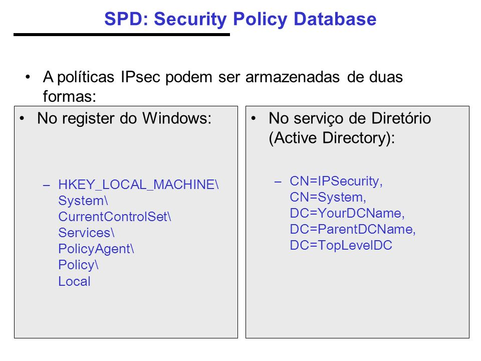 SPD: Security Policy Database No register do Windows: –HKEY_LOCAL_MACHINE\ System\ CurrentControlSet\ Services\ PolicyAgent\ Policy\ Local No serviço
