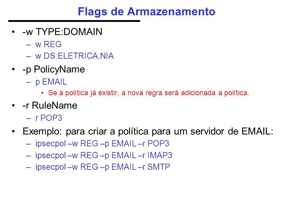 Flags de Armazenamento -w TYPE:DOMAIN –w REG –w DS:ELETRICA.NIA -p PolicyName –p EMAIL Se a política já existir, a nova regra será adicionada a política.