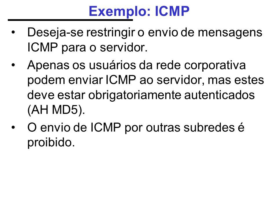 Exemplo: ICMP Deseja-se restringir o envio de mensagens ICMP para o servidor.