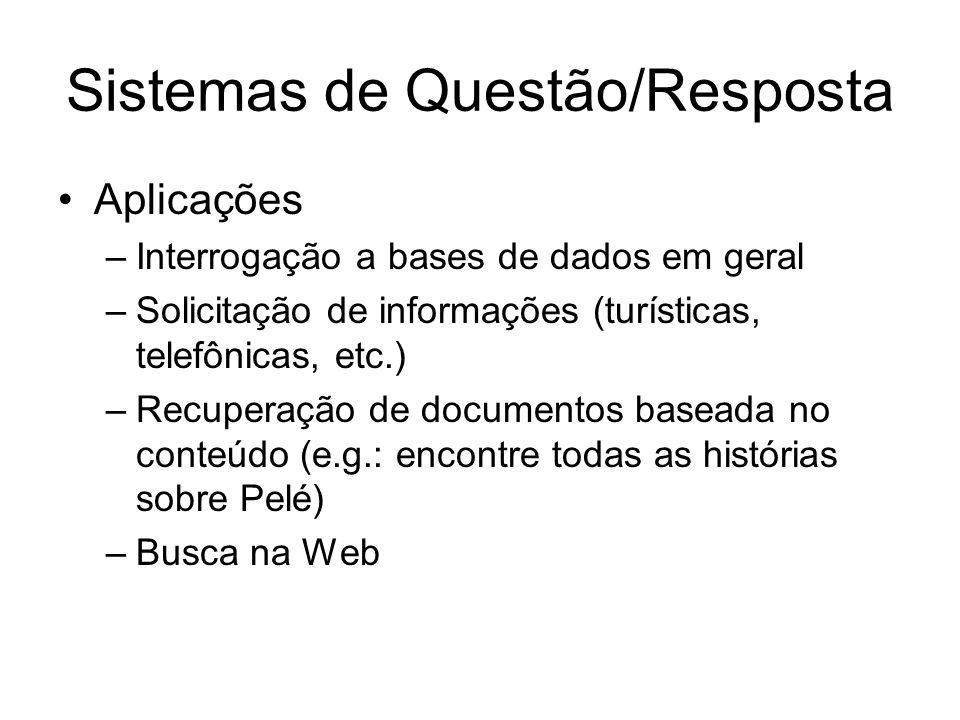 Sistemas de Questão/Resposta Aplicações –Interrogação a bases de dados em geral –Solicitação de informações (turísticas, telefônicas, etc.) –Recuperaç