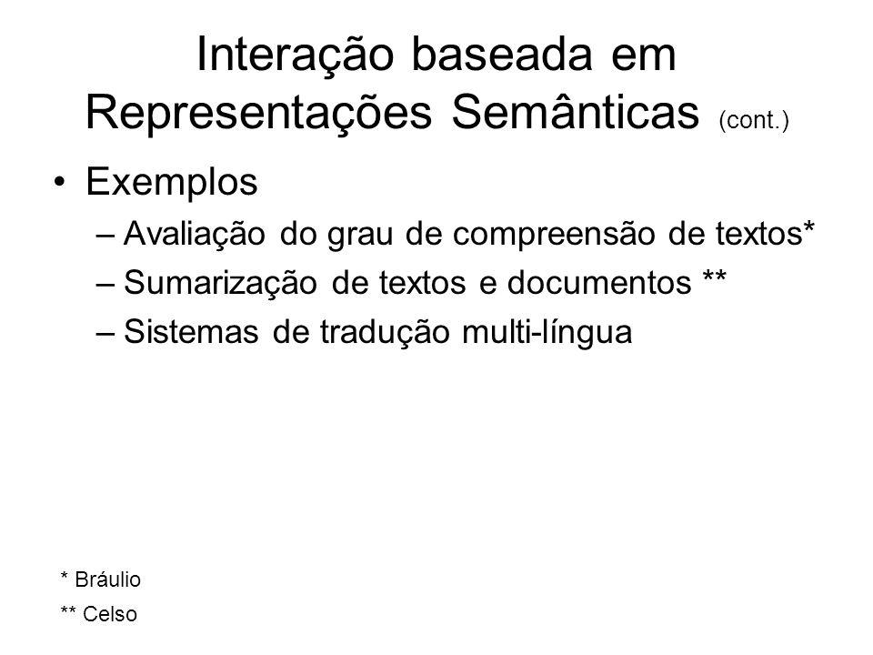 Interação baseada em Representações Semânticas (cont.) Exemplos –Avaliação do grau de compreensão de textos* –Sumarização de textos e documentos ** –S