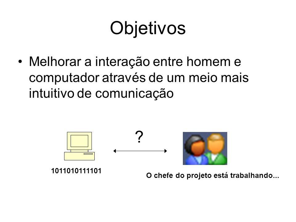Objetivos Melhorar a interação entre homem e computador através de um meio mais intuitivo de comunicação 1011010111101 O chefe do projeto está trabalh