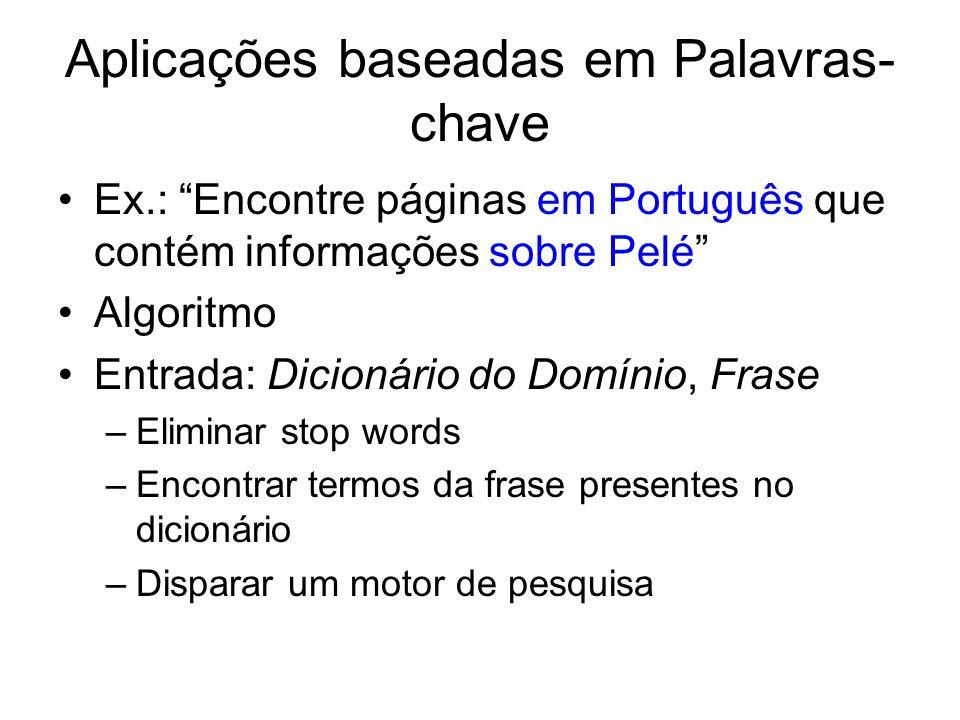 Aplicações baseadas em Palavras- chave Ex.: Encontre páginas em Português que contém informações sobre Pelé Algoritmo Entrada: Dicionário do Domínio,