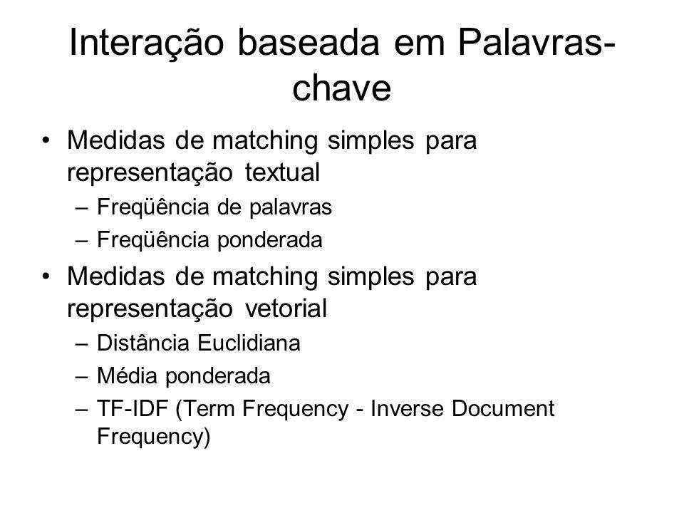 Exemplo de interação baseada em palavras-chave http://www.cs.washington.edu/research/proje cts/WebWare1/www/precise/precise.html