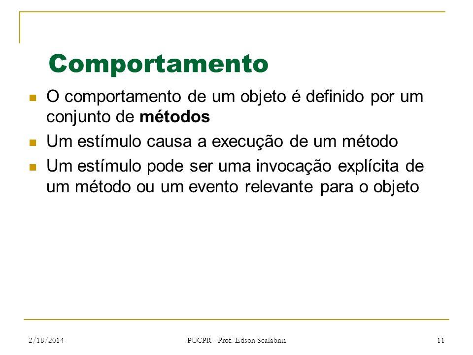 2/18/2014 PUCPR - Prof. Edson Scalabrin 11 Comportamento O comportamento de um objeto é definido por um conjunto de métodos Um estímulo causa a execuç