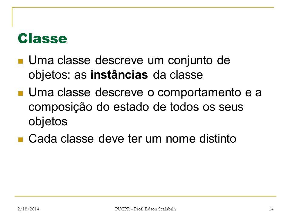 2/18/2014 PUCPR - Prof. Edson Scalabrin 14 Classe Uma classe descreve um conjunto de objetos: as instâncias da classe Uma classe descreve o comportame