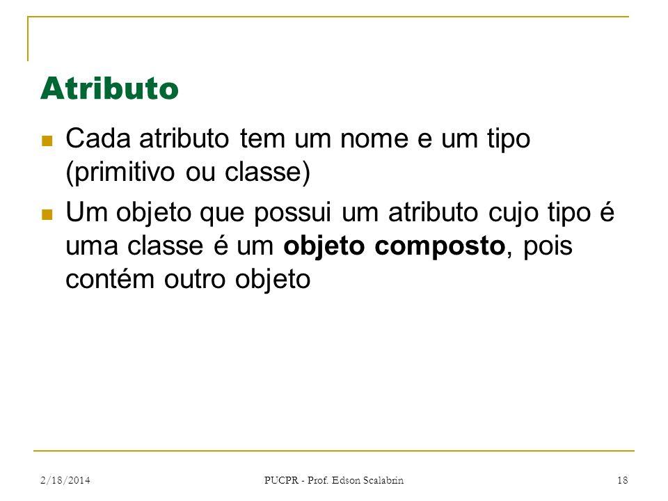 2/18/2014 PUCPR - Prof. Edson Scalabrin 18 Atributo Cada atributo tem um nome e um tipo (primitivo ou classe) Um objeto que possui um atributo cujo ti