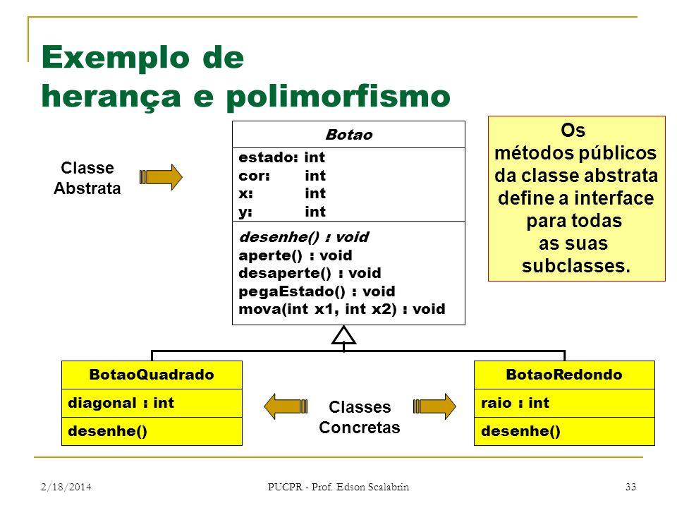 2/18/2014 PUCPR - Prof. Edson Scalabrin 33 Exemplo de herança e polimorfismo Botao estado: int cor: int x: int y: int desenhe() : void aperte() : void
