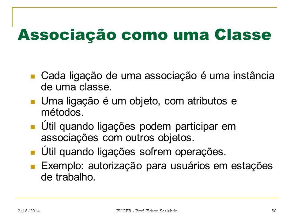 2/18/2014 PUCPR - Prof. Edson Scalabrin 50 Associação como uma Classe Cada ligação de uma associação é uma instância de uma classe. Uma ligação é um o