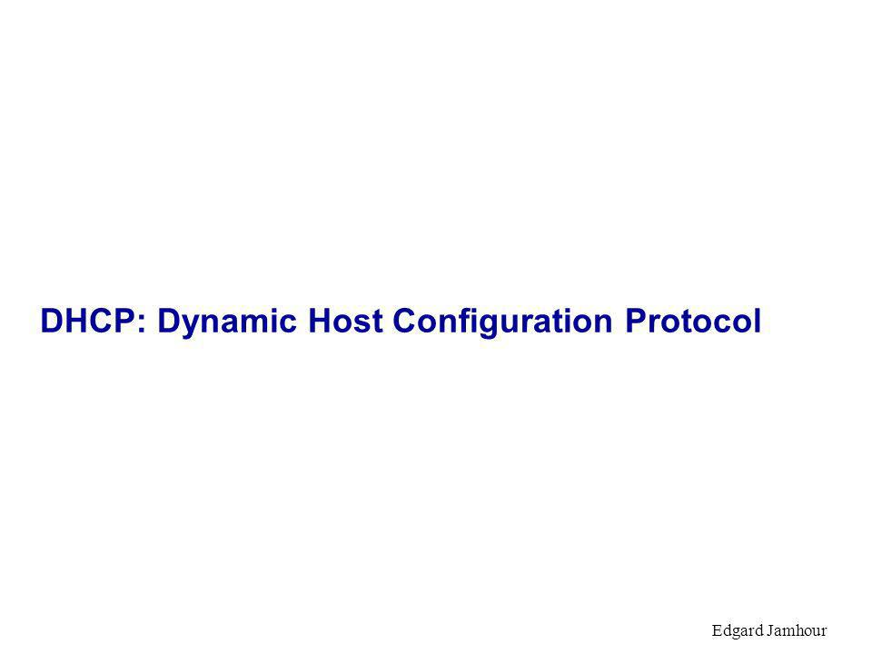 Edgard Jamhour DHCP: Dynamic Host Configuration Protocol