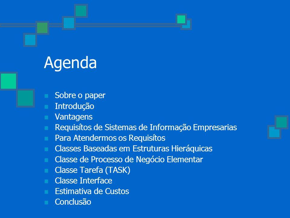 Agenda Sobre o paper Introdução Vantagens Requisítos de Sistemas de Informação Empresarias Para Atendermos os Requisítos Classes Baseadas em Estrutura
