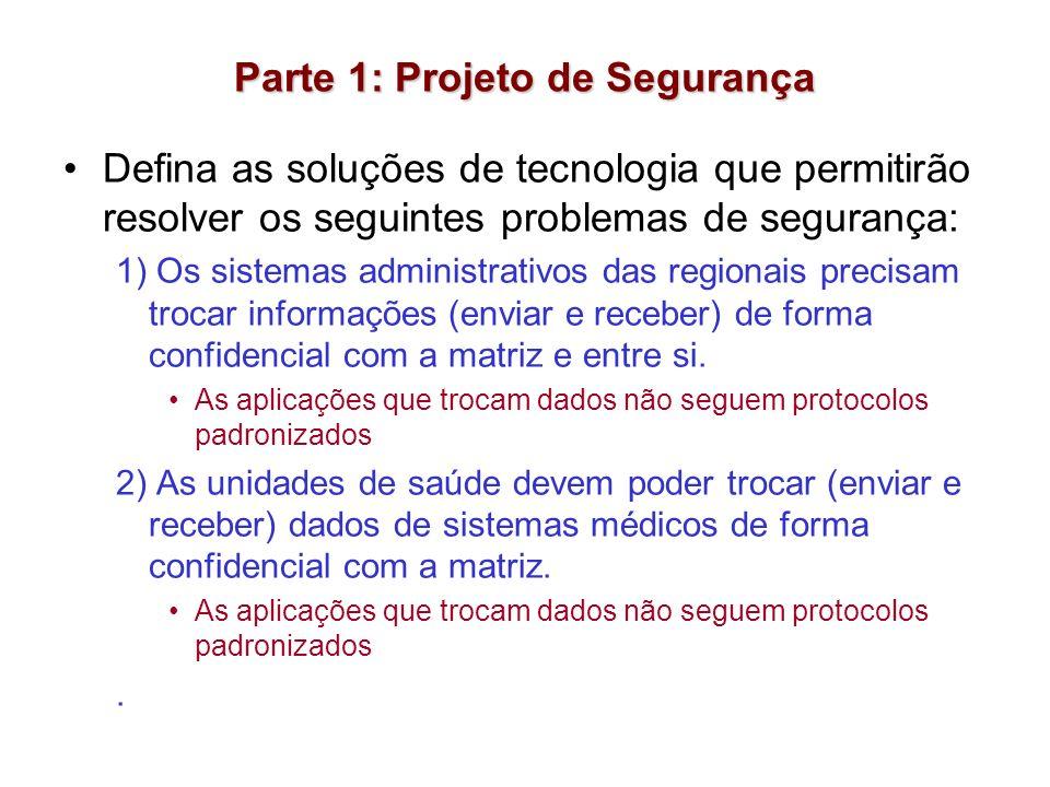 Parte 1: Projeto de Segurança Defina as soluções de tecnologia que permitirão resolver os seguintes problemas de segurança: 1) Os sistemas administrat