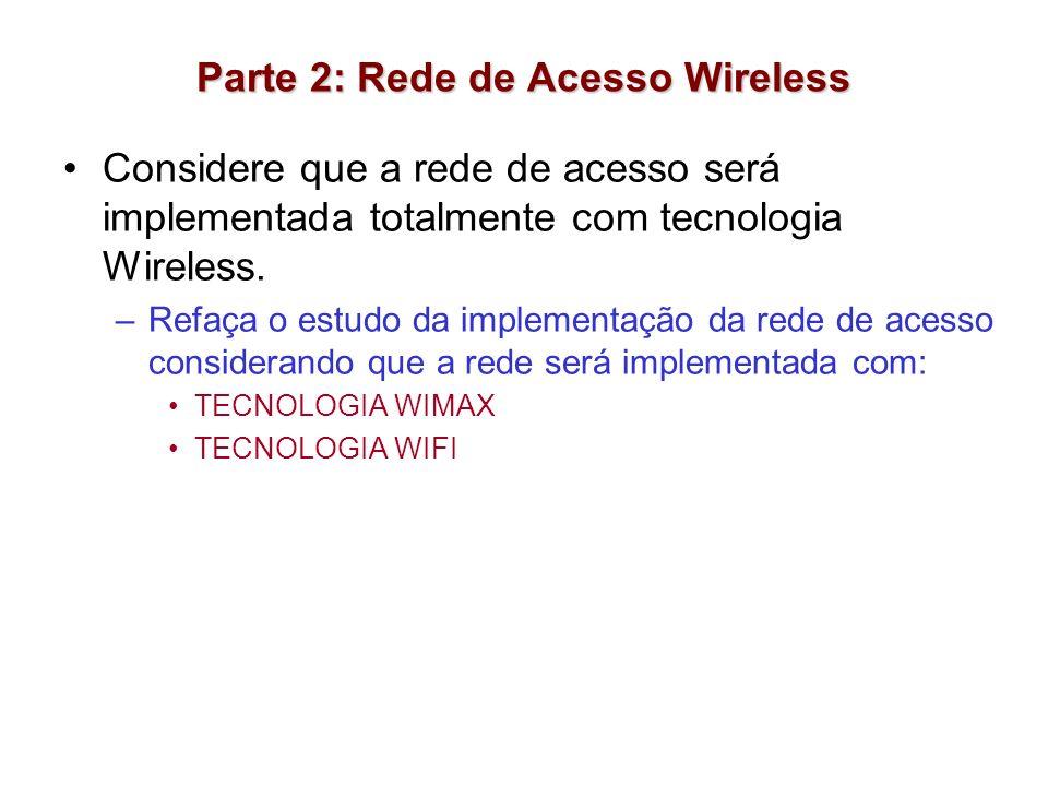 Parte 2: Rede de Acesso Wireless Considere que a rede de acesso será implementada totalmente com tecnologia Wireless. –Refaça o estudo da implementaçã