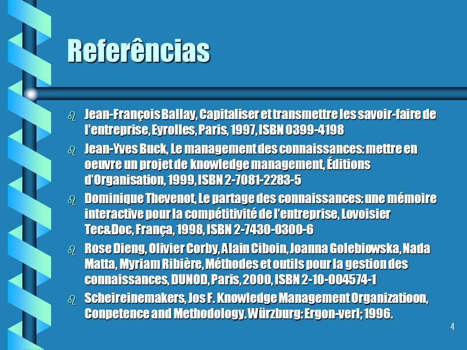 4 Referências b Jean-François Ballay, Capitaliser et transmettre les savoir-faire de lentreprise, Eyrolles, Paris, 1997, ISBN 0399-4198 b Jean-Yves Buck, Le management des connaissances: mettre en oeuvre un projet de knowledge management, Éditions dOrganisation, 1999, ISBN 2-7081-2283-5 b Dominique Thevenot, Le partage des connaissances: une mémoire interactive pour la compétitivité de lentreprise, Lovoisier Tec&Doc, França, 1998, ISBN 2-7430-0300-6 b Rose Dieng, Olivier Corby, Alain Ciboin, Joanna Golebiowska, Nada Matta, Myriam Ribière, Méthodes et outils pour la gestion des connaissances, DUNOD, Paris, 2000, ISBN 2-10-004574-1 b Scheireinemakers, Jos F.