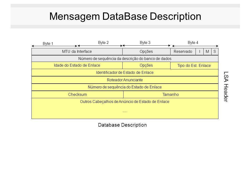 Mensagem DataBase Description MTU da InterfaceOpções Número de sequência da descrição do banco de dados Byte 1 Byte 2Byte 3Byte 4 Idade do Estado de E