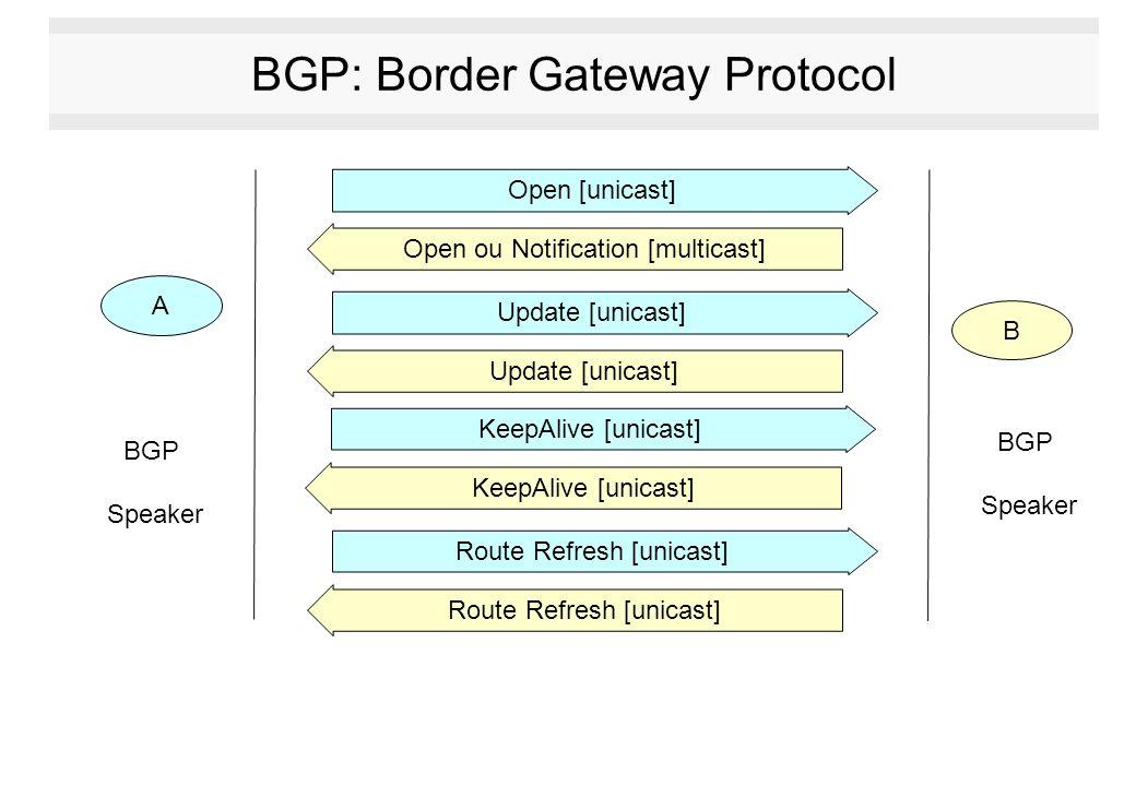 BGP: Border Gateway Protocol A B Open [unicast] Open ou Notification [multicast] Update [unicast] KeepAlive [unicast] Route Refresh [unicast] BGP Spea