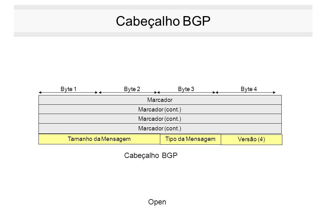Cabeçalho BGP Marcador Marcador (cont.) Byte 1 Byte 2Byte 3Byte 4 Marcador (cont.) Tamanho da Mensagem Marcador (cont.) Tipo da Mensagem Versão (4) Ca
