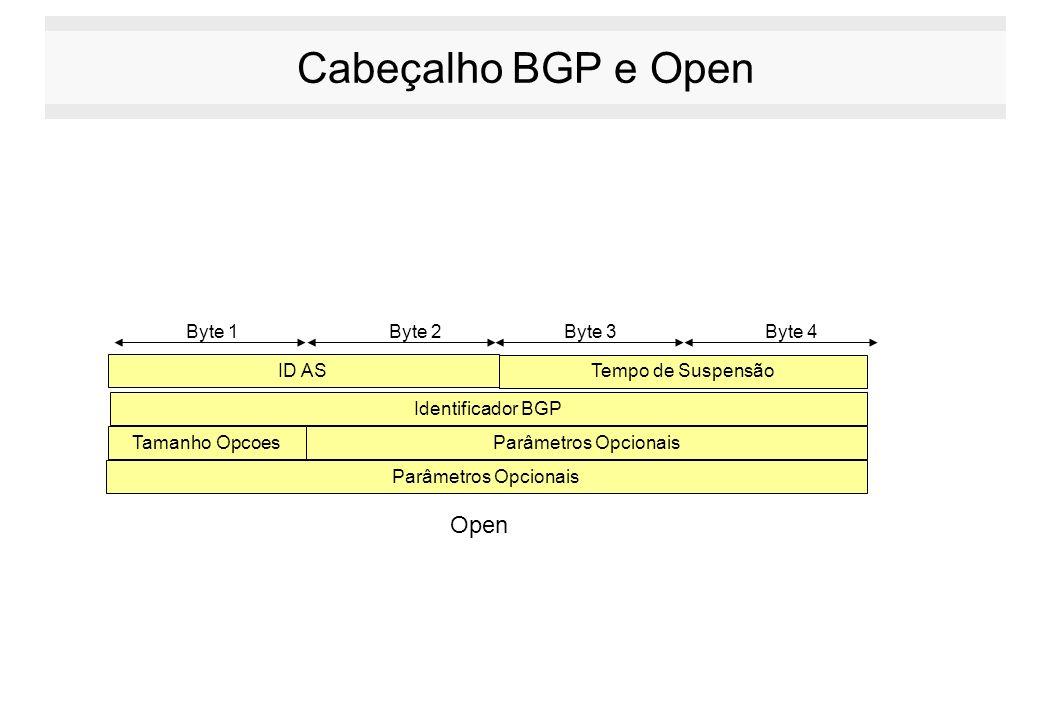Cabeçalho BGP e Open Byte 1 Byte 2Byte 3Byte 4 ID AS Tempo de Suspensão Identificador BGP Tamanho OpcoesParâmetros Opcionais Open