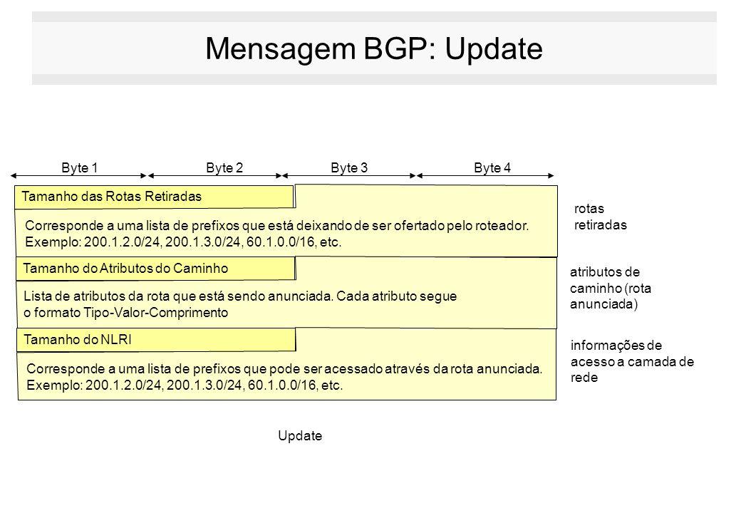 Mensagem BGP: Update Tamanho das Rotas Retiradas Tamanho do Atributos do Caminho Byte 1 Byte 2Byte 3Byte 4 Update rotas retiradas atributos de caminho