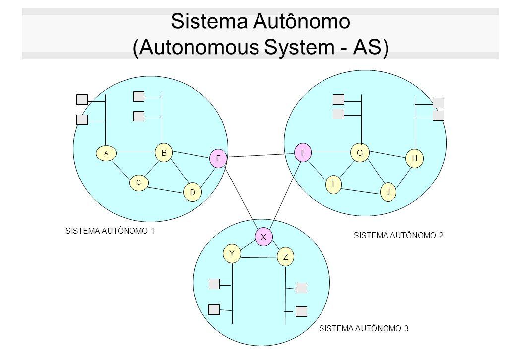 Sistema Autônomo (Autonomous System - AS) A B C D E FG I J H SISTEMA AUTÔNOMO 1 SISTEMA AUTÔNOMO 2 X Y Z SISTEMA AUTÔNOMO 3