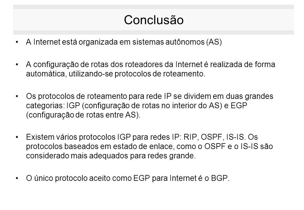 Conclusão A Internet está organizada em sistemas autônomos (AS) A configuração de rotas dos roteadores da Internet é realizada de forma automática, ut