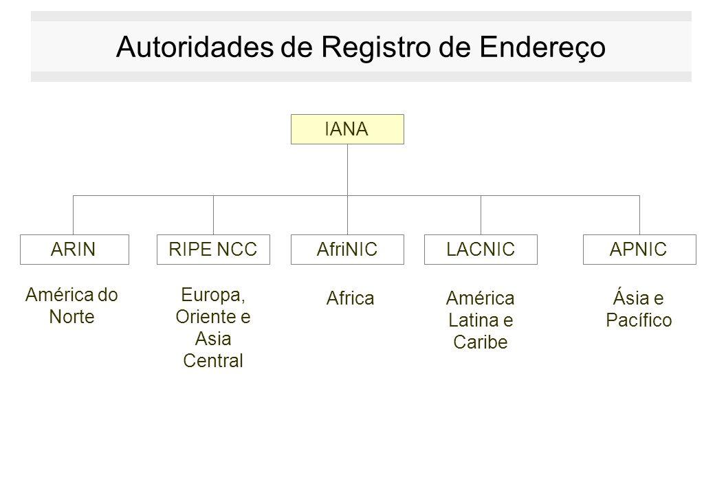 Autoridades de Registro de Endereço IANA ARINRIPE NCCAfriNICLACNICAPNIC América do Norte Europa, Oriente e Asia Central AfricaAmérica Latina e Caribe