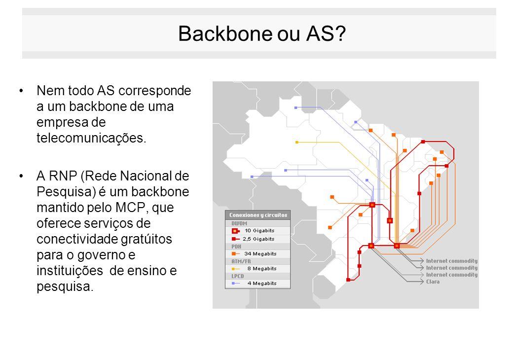 Backbone ou AS? Nem todo AS corresponde a um backbone de uma empresa de telecomunicações. A RNP (Rede Nacional de Pesquisa) é um backbone mantido pelo