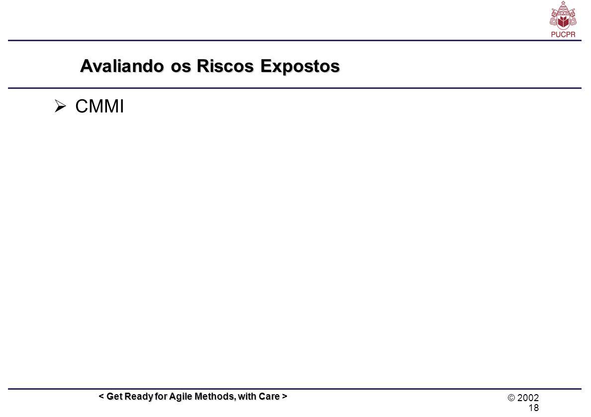 © 2002 18 Get Ready for Agile Methods, with Care Avaliando os Riscos Expostos CMMI