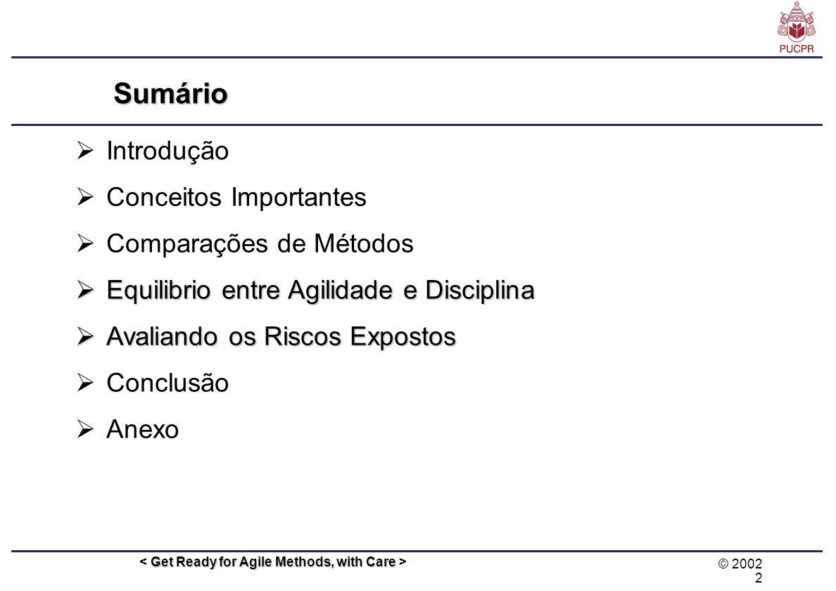 © 2002 2 Get Ready for Agile Methods, with Care Sumário Introdução Conceitos Importantes Comparações de Métodos Equilibrio entre Agilidade e Disciplin