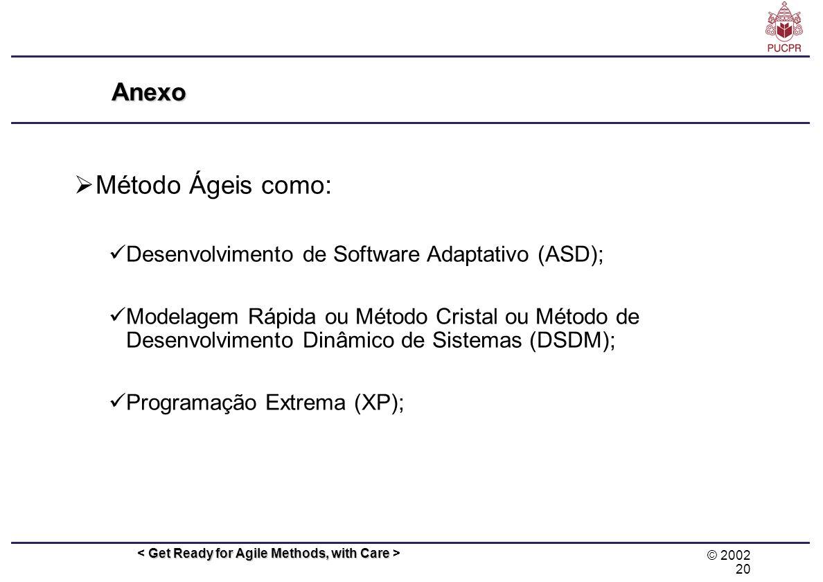 © 2002 20 Get Ready for Agile Methods, with Care Anexo Método Ágeis como: Desenvolvimento de Software Adaptativo (ASD); Modelagem Rápida ou Método Cri