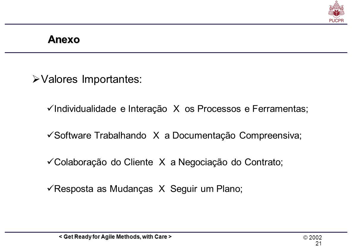 © 2002 21 Get Ready for Agile Methods, with Care Anexo Valores Importantes: Individualidade e Interação X os Processos e Ferramentas; Software Trabalh