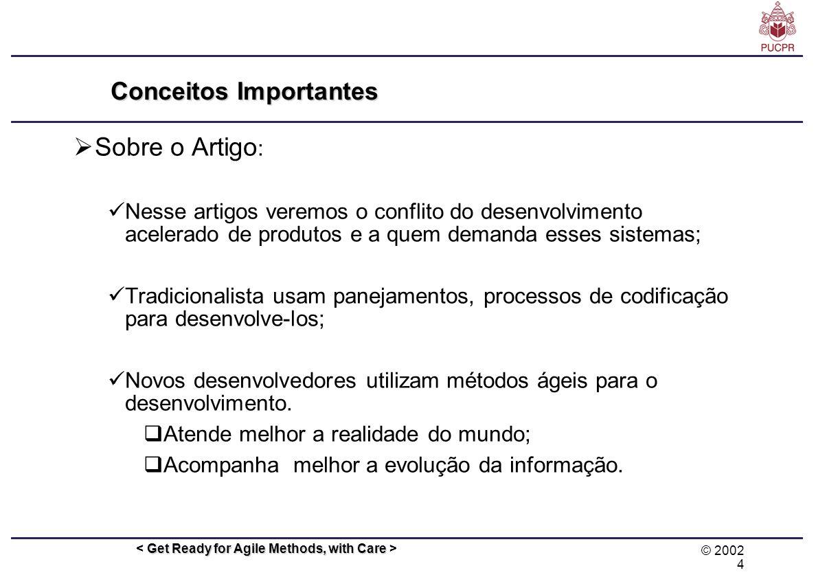 © 2002 4 Get Ready for Agile Methods, with Care Conceitos Importantes Sobre o Artigo : Nesse artigos veremos o conflito do desenvolvimento acelerado d