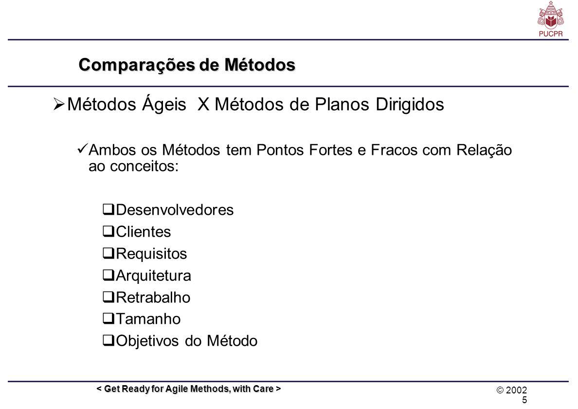 © 2002 5 Get Ready for Agile Methods, with Care Comparações de Métodos Métodos Ágeis X Métodos de Planos Dirigidos Ambos os Métodos tem Pontos Fortes