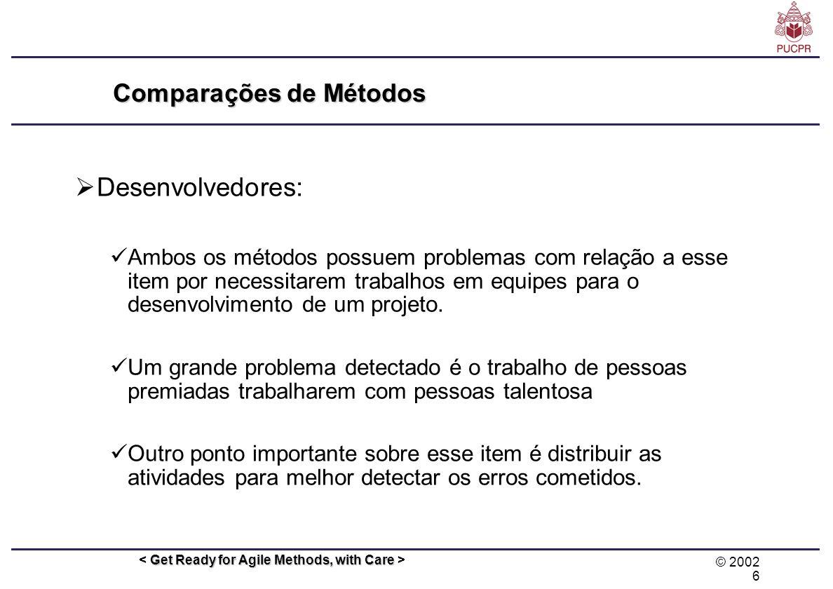 © 2002 6 Get Ready for Agile Methods, with Care Comparações de Métodos Desenvolvedores: Ambos os métodos possuem problemas com relação a esse item por