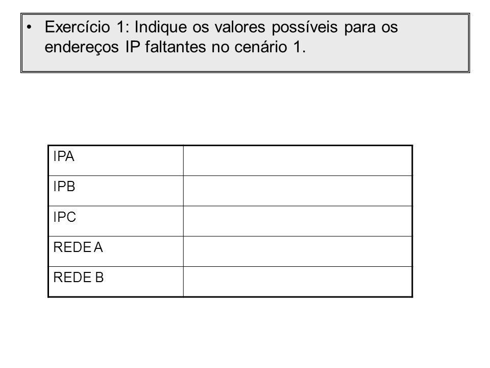 Exercício 1: Indique os valores possíveis para os endereços IP faltantes no cenário 1. IPA IPB IPC REDE A REDE B