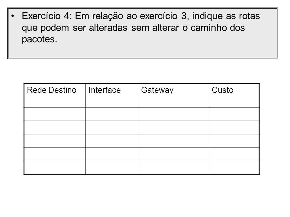 Exercício 4: Em relação ao exercício 3, indique as rotas que podem ser alteradas sem alterar o caminho dos pacotes. Rede DestinoInterfaceGatewayCusto