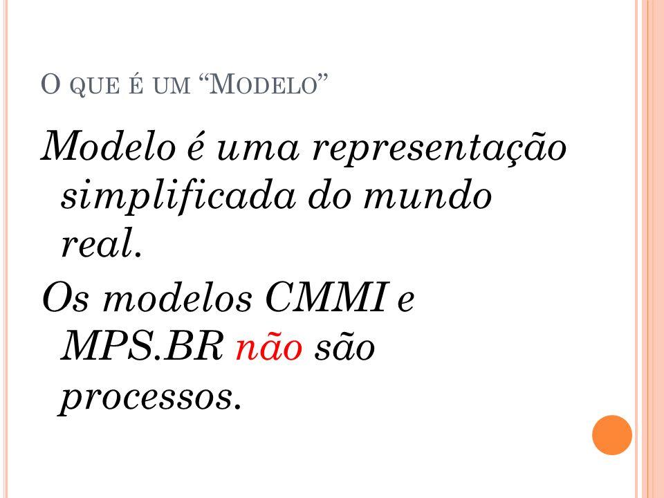 O QUE É UM M ODELO Modelo é uma representação simplificada do mundo real. Os modelos CMMI e MPS.BR não são processos.