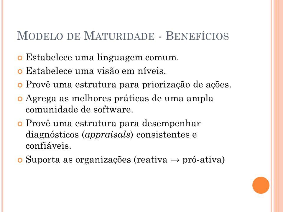 M ODELO DE M ATURIDADE - B ENEFÍCIOS Estabelece uma linguagem comum. Estabelece uma visão em níveis. Provê uma estrutura para priorização de ações. Ag