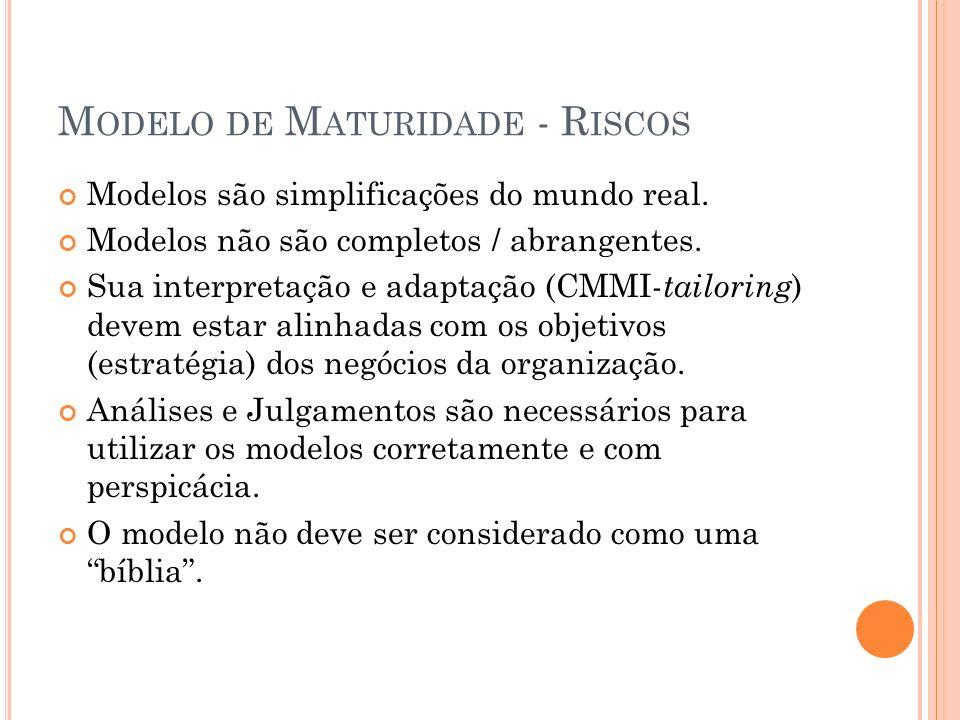 M ODELO DE M ATURIDADE - R ISCOS Modelos são simplificações do mundo real. Modelos não são completos / abrangentes. Sua interpretação e adaptação (CMM