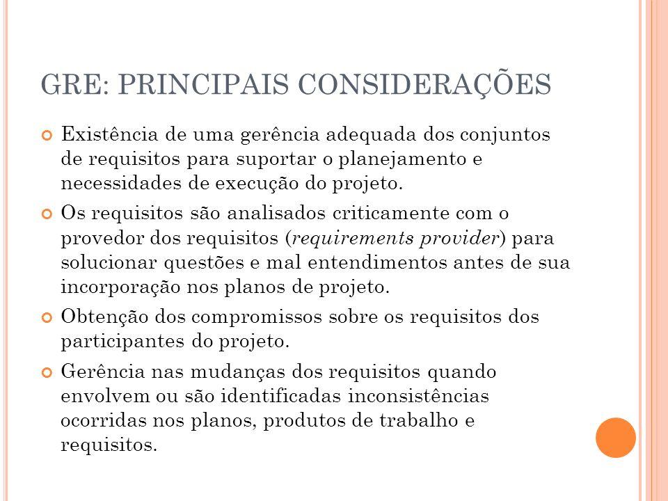 GRE: PRINCIPAIS CONSIDERAÇÕES Existência de uma gerência adequada dos conjuntos de requisitos para suportar o planejamento e necessidades de execução
