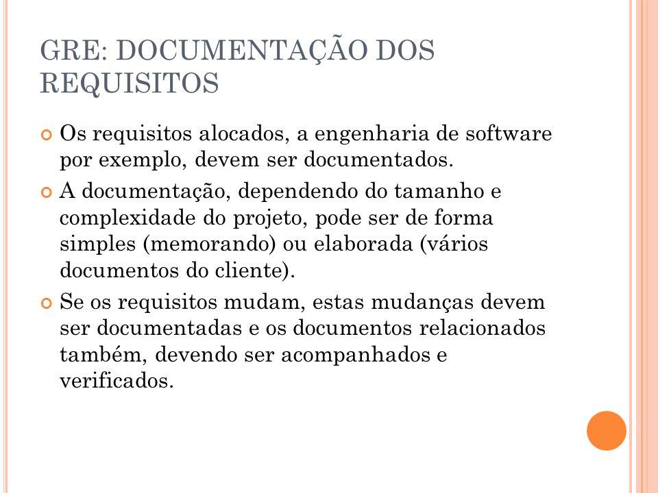 GRE: DOCUMENTAÇÃO DOS REQUISITOS Os requisitos alocados, a engenharia de software por exemplo, devem ser documentados. A documentação, dependendo do t