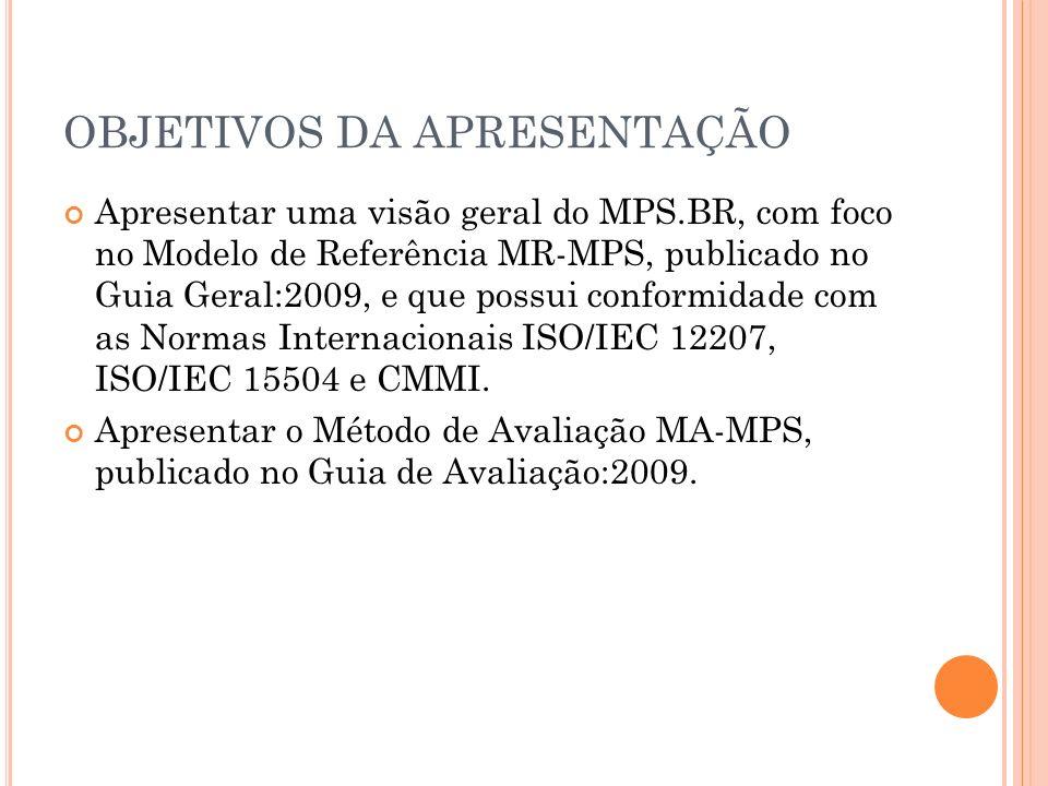 OBJETIVOS DA APRESENTAÇÃO Apresentar uma visão geral do MPS.BR, com foco no Modelo de Referência MR-MPS, publicado no Guia Geral:2009, e que possui co