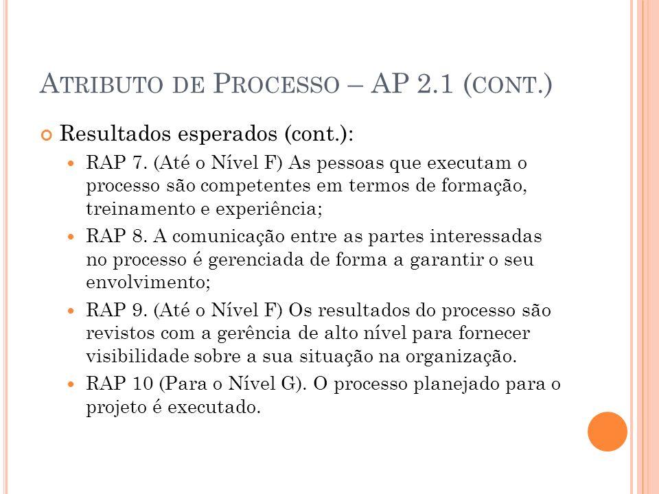 A TRIBUTO DE P ROCESSO – AP 2.1 ( CONT.) Resultados esperados (cont.): RAP 7. (Até o Nível F) As pessoas que executam o processo são competentes em te