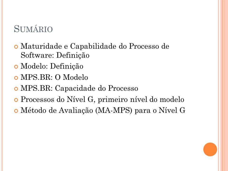 S UMÁRIO Maturidade e Capabilidade do Processo de Software: Definição Modelo: Definição MPS.BR: O Modelo MPS.BR: Capacidade do Processo Processos do N
